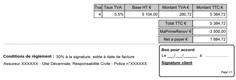 screenshot exemple de document commercial incluant la prime renov - gestion de MaPrimeRenov devis