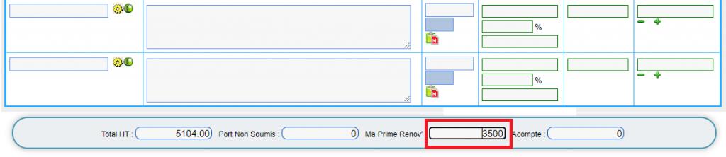 screenshot saisie prime renov dans le logiciel bâtiment SO-FA - gestion de MaPrimeRenov devis