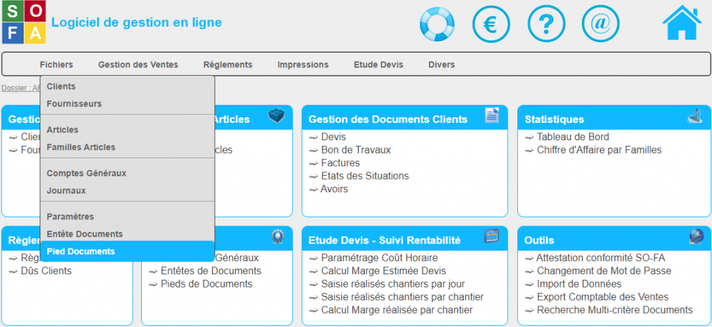 Configuration du pied de document SO-FA